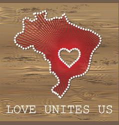brazil art map with heart string art yarn vector image