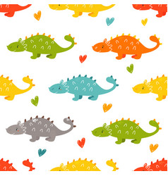 brigt seamless pattern with cute dinos vector image