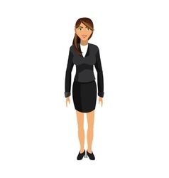 Brunette business woman icon vector