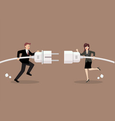 Businessman and woman connecting hold plug and vector