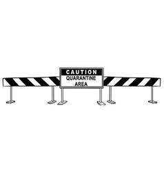 Cartoon caution quarantine area roadblock vector