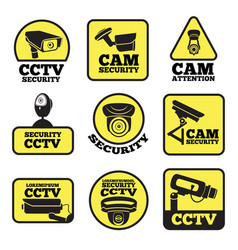 cctv labels with security vector image