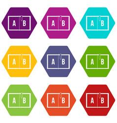 children abc icon set color hexahedron vector image