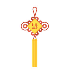 Chinese knot with tassel and chinese character vector