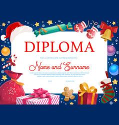 Christmas holiday kids diploma with gifts vector