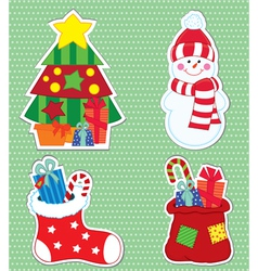 christmas stickers4 vector image