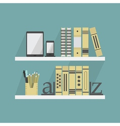 Close up of shelves with some books and accessorie vector