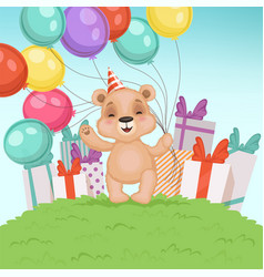 cute bear background funny teddy bear toy for vector image