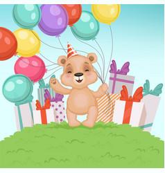 Cute bear background funny teddy bear toy vector