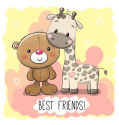 cute cartoon bear and giraffe vector image