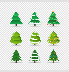 different christmas trees collection isolated on vector image