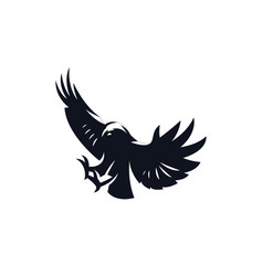 diving eagle with wings up vector image