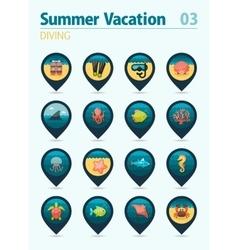 Diving pin map icon set Summer Vacation vector
