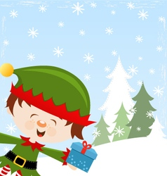 Elf With Gift vector