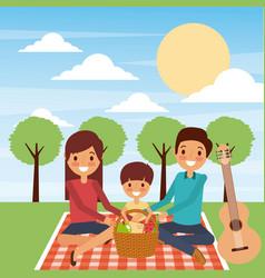 Family sitting blanket dinner picnic in the park vector