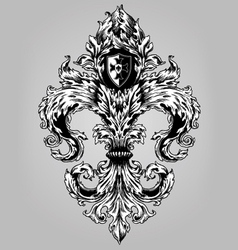 Fancy Hand Drawn Fluer De Lys vector image