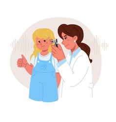 Female audiologist doctor checks the girls vector