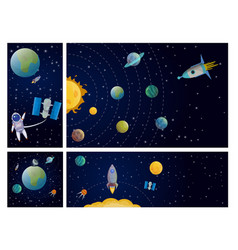 flat solar system colorful composition vector image