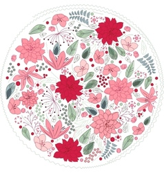 Floral circle made of different flowers vector image