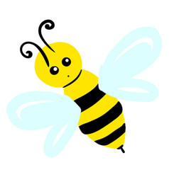 flying little bee on white background vector image