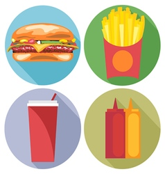 Food and drink set flat style Burger coke chips ke vector