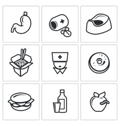 Food poisoning icons set vector image