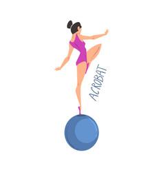 Girl acrobat gymnast balancing standing on one leg vector