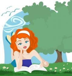 Girl reading book vector