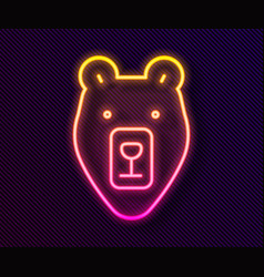 glowing neon line bear head icon isolated on black vector image