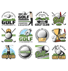 golf game sport equipment and trophy cup icons vector image