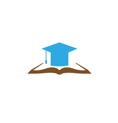 graduation hat on a open book for logo design icon vector image