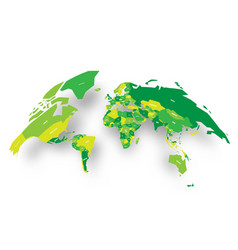 Green political map of world bulging in a shape of vector