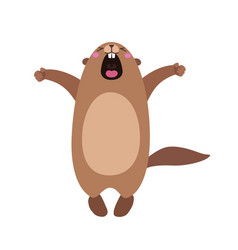 Groundhog who yawns and stretches flat vector
