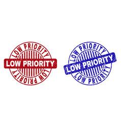 Grunge low priority textured round stamp seals vector