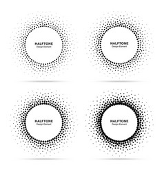 halftone circular dotted frame set vector image