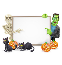 Halloween sign with skeleton and frankenstein vector