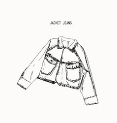 Hand-drawn object sketch denim jacket jean vector