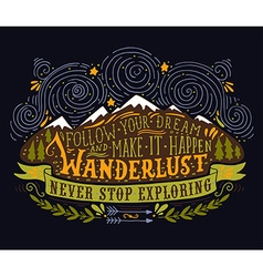 Hand drawn vintage label with mountains forest and vector