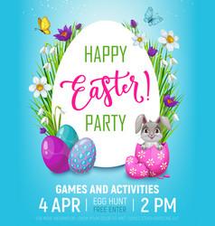 Happy easter egg hunt kid party bunny in egg vector