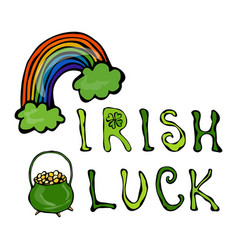 Irish luck logo with rainbow and pot of gold and vector