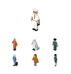 Isometric people set of hostess seaman lady and vector