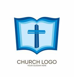 Jesus cross and bible vector