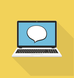 Laptop with speech bubble on display vector
