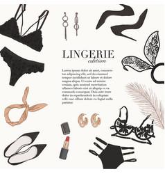 Lingerie underwear hand-drawn doodle template bra vector