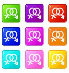 Male and female signs icons 9 set vector