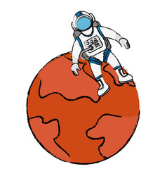Mars planet with astronaut vector
