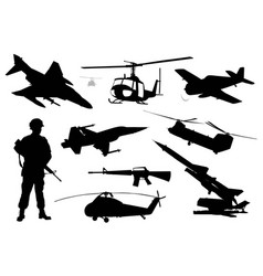 Military silhouettes set vector