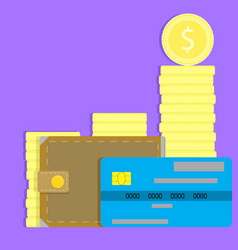 Money concept credit card wallet and coin vector