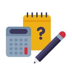 Notebook calculator and pencil school supplies vector