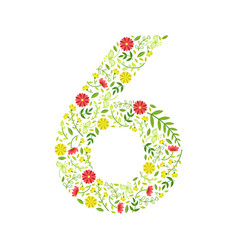 number 6 green floral number made leaves and vector image